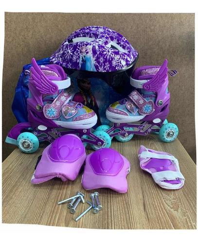 Patines Frozen Para Niñas Ajustables + Casco + Protecciones