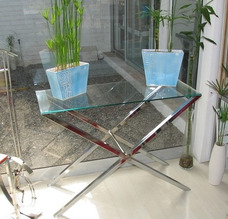 Mesas Muebles Estantes Aparadores De Acero Inoxidable Y Vidr