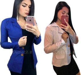 Blazer Casaquinho Social Inverno Blusa Frio Feminina Botões