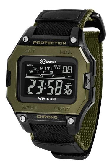 Relógio Masculino Preto E Verde Digital X-games Nylon + Nf