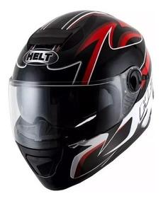 Capacete Helt New Race Glass Bell Fechado Preto/ver C/óculos