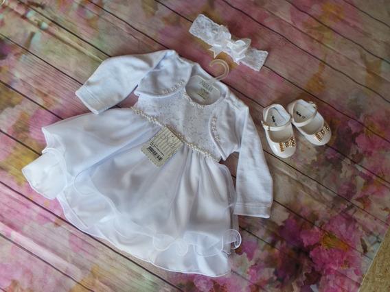 Vestido De Batizado Menina Infantil + Sapato + Bolero