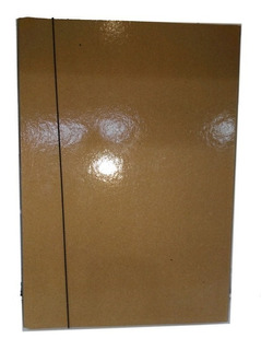 Caja Archivo Marron Con Elastico Lomo 4