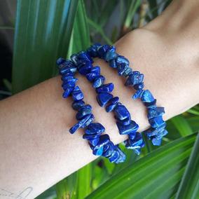 Pulseira De Pedra Lápis Lazuli Cascalho Natural Feminina