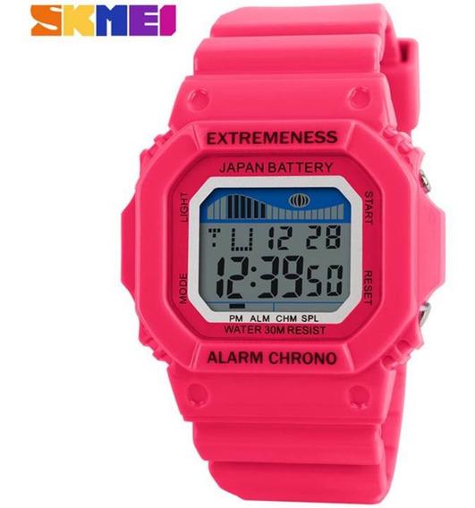 Relógio Feminino Skmei 6918 Pequeno Infantil Digital Rosa Pink Prova De Água Cronometro Calendário Alarme E Luz