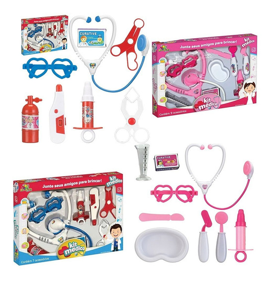 Kit Médico Infantil Dr Brinquedo Criança 8 Itens Mini Doutor