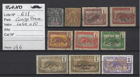 Lote611 Congo Frances Lote De 10 Estampillas Antiguas.