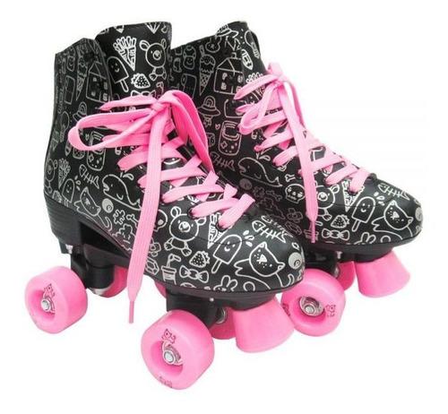 Patins Infantil Roller Estilo Clássico Rosa Meninas 38