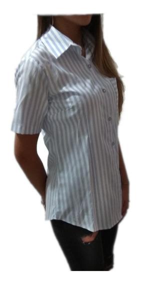 Camisa Blusa Mujer Entallada Manga Corta Raya Verano Oficina