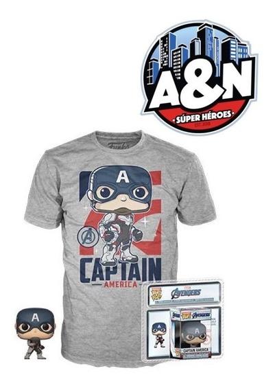 Funko Pop Tees Camiseta Capitan America End Game C. Llavero