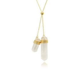 Colar Regulável Folheado Ouro 18k Pedra Natural Cristal