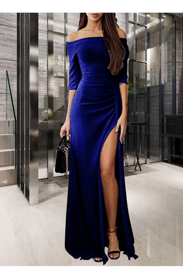 Sexy Mujeres Brillante Knitte Vestido Apagado El Hombro De S