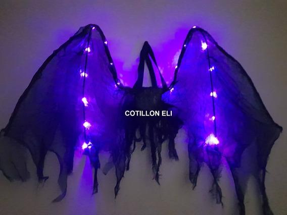 Alas De Angel Negro Luminosas . Disfraces Fiestas Halloween
