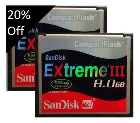 Combo 2 Cartões Compact Flash Sandisk 8gb 30mb/s Nikon Canon
