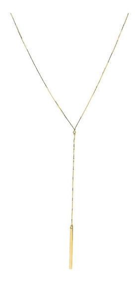 Gargantilha Em Ouro 18k Modelo Gravata Com 46cm Ga03289