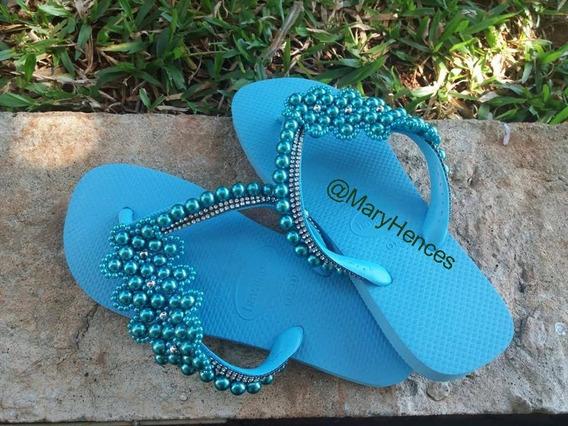 Chinelo Havaianas Bordado Com Pérolas Personalizadas Azul