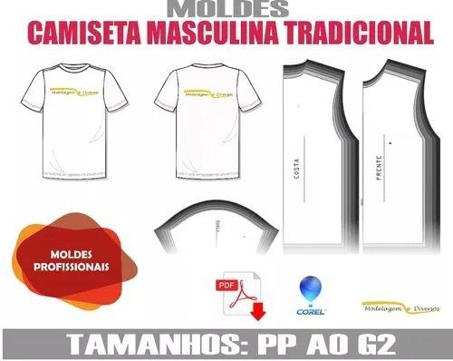 Molde De Camiseta Tradicional Pp Ao G2 Frete Gratis