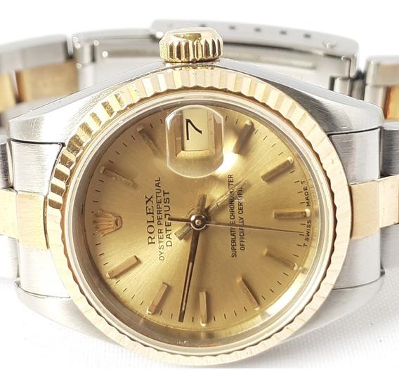 Rolex Date-just Aço E Ouro 18klte Feminino 27mm Safira 12xsj