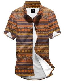 Camisa Botão Floral Africana Étnico Estampada Girassol 90