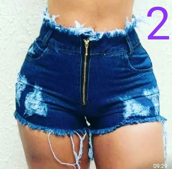 Kit 3 Shorts Jeans Feminino Destroyed Cintura Alta Hot Pants