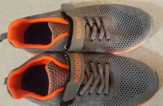 Zapatos Deportivos Para Niños Talla 37 Color Gris Y Naranja