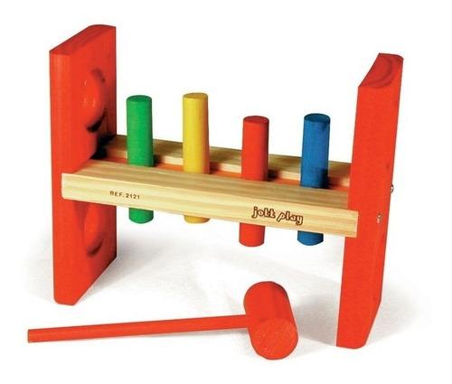 Brinquedo Educativo Pedagógico Bate Pinos Colorido Madeira