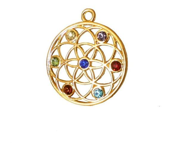 Colar Pingente Mandala Átomo Quantico Cristais Chakras