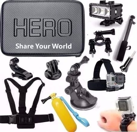 Suportes Gopro 3+ 4 Hero 5 Case Impermeável Flash Cinta Boia
