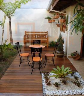 Mesa Bar Cozinha Café Área Gourmet Com 4 Cadeiras Em Madeira