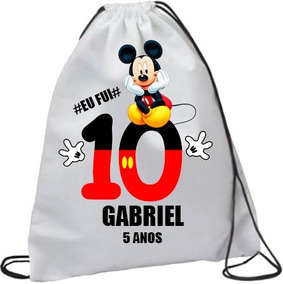 Kit Uma Camiseta Do Mickey + 30 Mochila Saco Personalizada