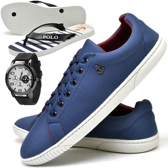 Tenis Masculino Sapatenis Sapato C/ Relógio E Chinelo