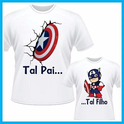 1c1059c8fbd042 Kit Camiseta Personalizada Tal Pai Tal Filho Capitão América