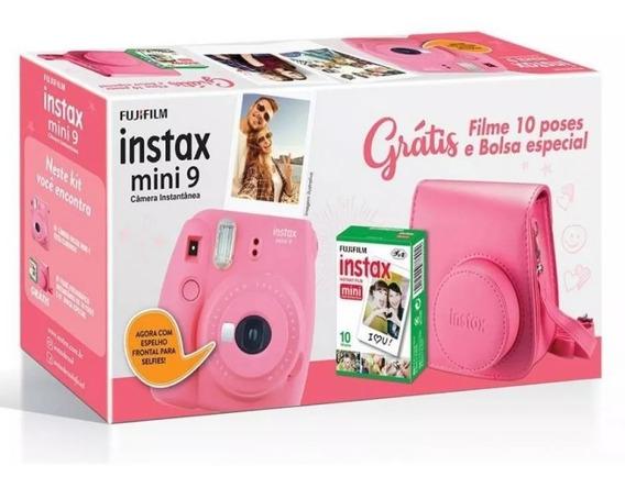Kit Câmera Instax Mini 9 Rosa, Com Câmera, Bolsa + 10 Filmes