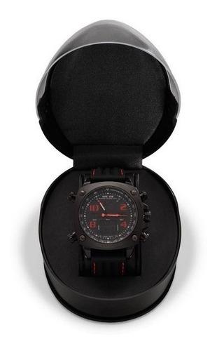 Relógio Masculino Weide Anadigi - Preto E Vermelho
