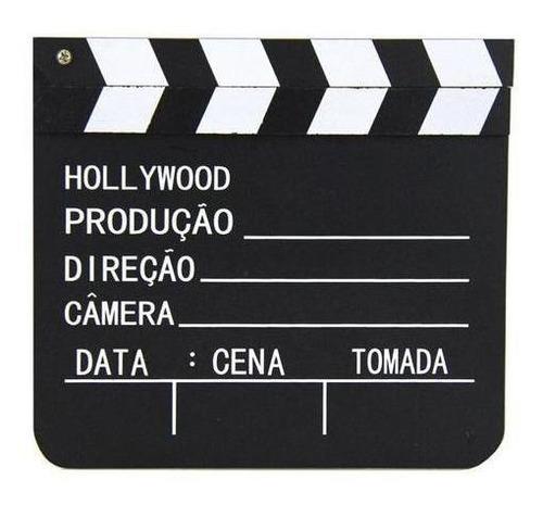 Claquete Filme Cinema Vídeos Decoração De Madeira 20x18,5cm