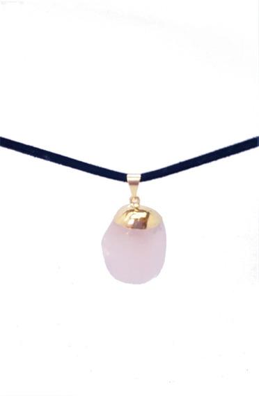 Pingente Quartzo Rosa Pedra Natural Cordão De Couro