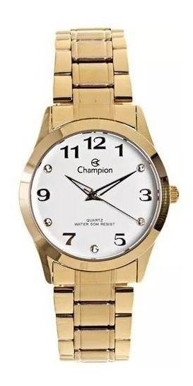 Relógio Feminino Champion Analógico Dourado Social Cn29070h