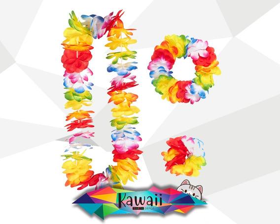 Set Collar, Tiara Y Pulsera Hawaiano Para Fiesta - 12 Sets