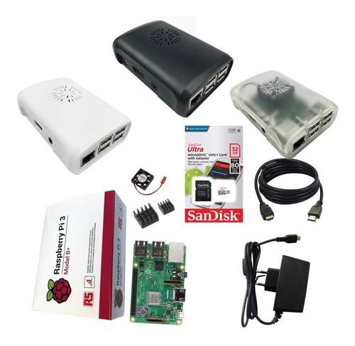 Kit Raspberry Pi3b+ Plus, Fonte, Case, Dissipadores 32gb