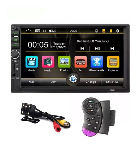 Imagen 1 de 8 de Radio 2 Din Tactil 7  Auto Mp3 Mp4 Bluetooth Camara Reversa