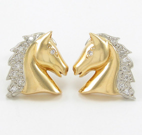 Esfinge Jóias - Brinco Design Cavalo Diamantes Ouro 18k 750