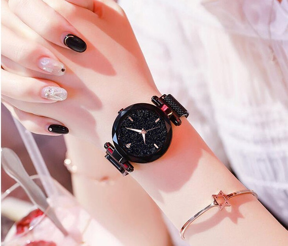 Relógio Feminino Céu Estrelado Elegante Pulseira Magnética .
