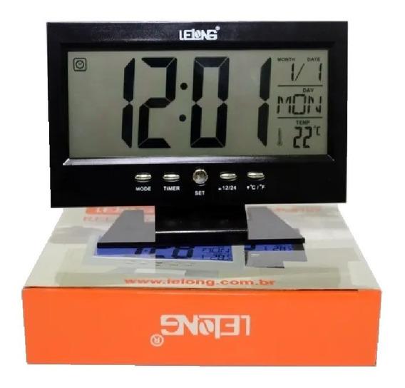 Relógio De Mesa Digital Termômetro Calendário Despertador