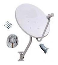 Kit Antena Satélite 60cm Banda Ku +lnb Duplo+cabo+conector