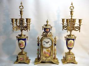 Relógio Italiano Garniture Castiçais Para 5 Velas Cada Belo