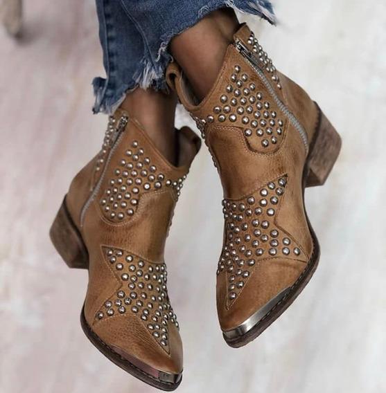 Zapatos Mujer Bota Botinera 100% Cuero Con Tachas Texana