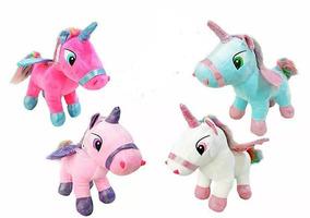 Kit Com 3 Unicornios De Pelucia Com Asas Fofos Reais