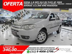Fiat Siena 1.8 Mpi Hlx 8v Flex Top De Linha C/ Couro + Rodas