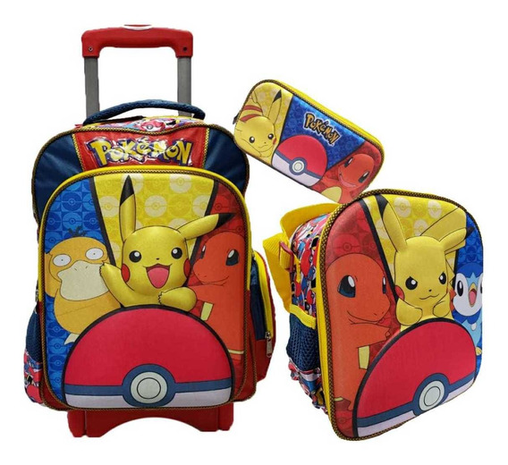 Kit Escolar Primaria Pikachu Pokemon Mochila Lapicera 3 Pzs