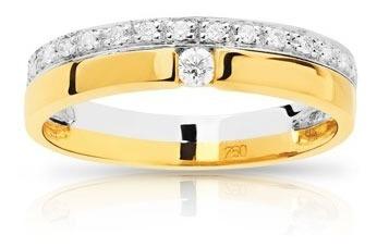 Anel Em Ouro 18k!!com Diamantes De 1 Ponto!!
